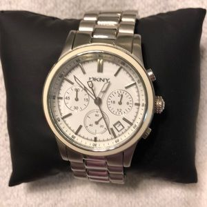 Silver DKNY watch with ivory/cream around face